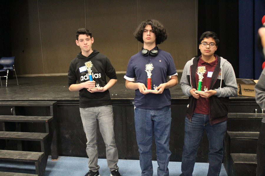 From left: Francisco Meza, Abraham Zambrano, and Emilio Yanez. Meza earned a flawless first place in the chess tournament, while Zambrano and Yanez earned 2nd and 3rd, respectively.