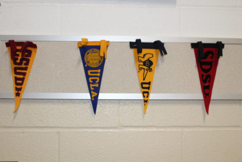 College pennants hang in the halls of the S-wing. One of the four school pictured was involved in the college admission scandal.